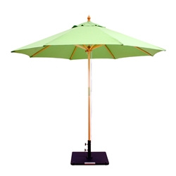 Galtech Wood 9 Foot Round Market Umbrella with Double Pulley - 132-232
