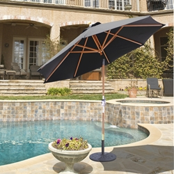 Galtech Wood 9 Foot Octagon Market Umbrella with Crank Lift - 139-239