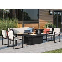 Homecrest Allure Modern Sling Patio Set with Breeze Fire Table - HC-ALLURE-SET4
