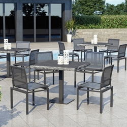 Homecrest Allure Mesh Patio Dining Set with Slate Pedestal Table - HC-ALLURE-SET5