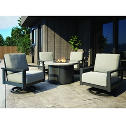 Homecrest Elements Cushion Swivel Rocker Chairs with Timber Fire Table Patio Set - HC-ELEMENTS-SET7
