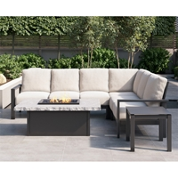 Homecrest Elements Cushion Patio Sectional with Slate Fire Table - HC-ELEMENTS-SET9