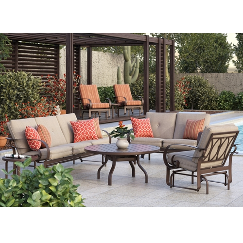 Homecrest Emory Cushion Sofa Glider Patio Set - HC-EMORY-SET1
