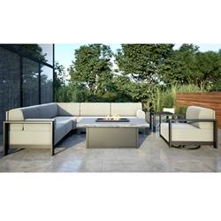 Homecrest Grace Cushion Modern Patio Sectional Set with Slate Fire Table - HC-GRACE-SET11