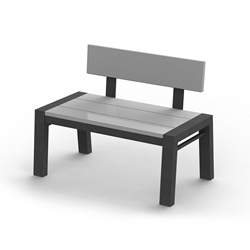 "Homecrest Maddox 22"" x 40"" Rectangular Cafe Bench with Back - 282240B"