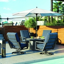 Homecrest Sutton Cushion Swivel Rocker Patio Set with Shadow Rock Fire Table - HC-SUTTON-SET3