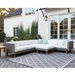Lloyd Flanders Catalina Wicker Sectional with Teak Accents - LF-CATALINA-SET6