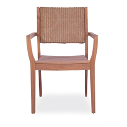 Lloyd Flanders Teak Dining Arm Chair with Loom Back - 286201
