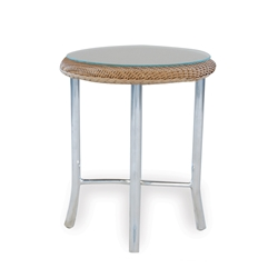Lloyd Flanders 20 Inch Round End Table w/ Glass Top - 86220