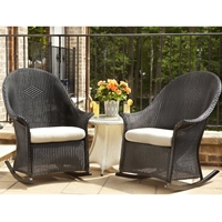 Lloyd Flanders Loom Wicker High Back Porch Rocker Set with Side Table - LF-DINING-SET14
