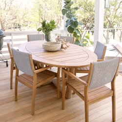 Lloyd Flanders Loom Wicker and Teak Outdoor Dining Set for 6 - LF-DINING-SET16