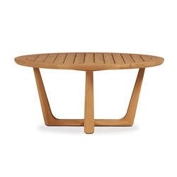 "Lloyd Flanders Teak 40"" Round Cocktail Table with Sled Base - 286144"