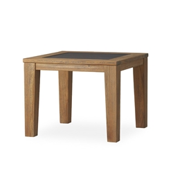 "Lloyd Flanders Teak 28"" Square End Table with Faux Concrete Inset - 286343"