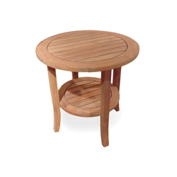 Lloyd Flanders 24 inch Round Teak Tapered Leg End Table - 286424