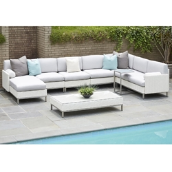 Lloyd Flanders Elements Big Outdoor Wicker Sectional with Chaise - LF-ELEMENTS-SET13
