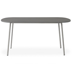 "Lloyd Flanders Elevation 42"" Oval Cocktail Table with Light Gray Corian Top - 306044"