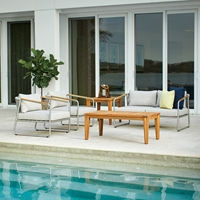 Lloyd Flanders Elevation Patio Set with Teak Tables - LF-ELEVATION-SET2