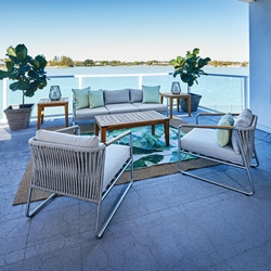 Lloyd Flanders Elevation Modern Outdoor Furniture Set with Teak Tables - LF-ELEVATION-SET4
