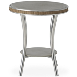 "Lloyd Flanders Essence 20"" Round End Table with Taupe Glass - 196043"