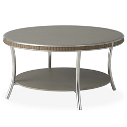 "Lloyd Flanders Essence 33"" Round Cocktail Table with Taupe Glass - 196044"