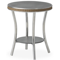 "Lloyd Flanders Essence 20"" Round End Table with Charcoal Glass - 196343"