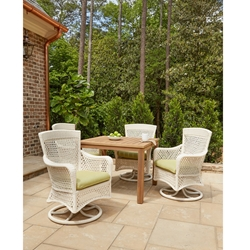 Lloyd Flanders Grand Traverse Wicker Dining Set with Teak Table - LF-GRANDTRAVERSE-SET18