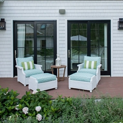 Lloyd Flanders Hamptons Wicker Lounge Chair and Ottoman Set - LF-HAMPTONS-SET14