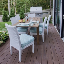 Lloyd Flanders Hamptons Wicker Dining Chairs with Teak Table Set - LF-HAMPTONS-SET16
