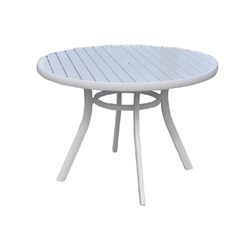 Lloyd Flanders Lux 42 Round Aluminum Slat Top Dining Table in Gloss White - 54342-801