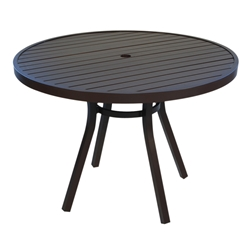 Lloyd Flanders Lux 42 Round Aluminum Slat Top Dining Table in Gloss Anthracite - 54342-811