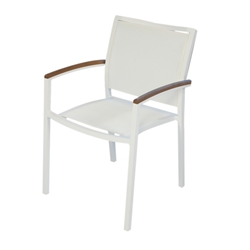 Lloyd Flanders Lux White Stacking Dining Arm Chair with Sling and Teak Accents - Set of 4 - 54401-801-308