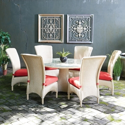 Lloyd Flanders Mandalay Loom Wicker Patio Dining Set for 6 with Round Table - LF-MANDALAY-SET11