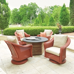 Lloyd Flanders Reflections Swivel Glider Lounge Chair with Teak Fire Table Set - LF-REFLECTIONS-SET18