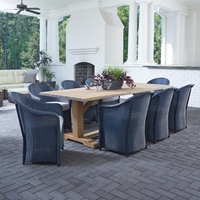 Lloyd Flanders Weekend Retreat Outdoor Wicker Dining Set with Teak Table - LF-WEEKENDRETREAT-SET13