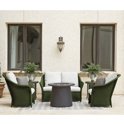 Lloyd Flanders Weekend Retreat Outdoor Wicker Loveseat and Lounge Chair Set with Fire Table - LF-WEEKENDRETREAT-SET16