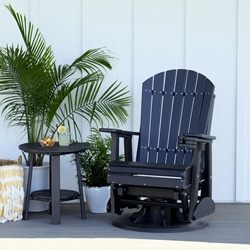 LuxCraft Adirondack Poly Swivel Glider and Side Table Set - LC-ADIRONDACK-SET11