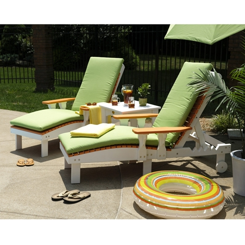 LuxCraft Set of 2 Poly Chaise Loungers with Side Table - LC-CLASSIC-SET16