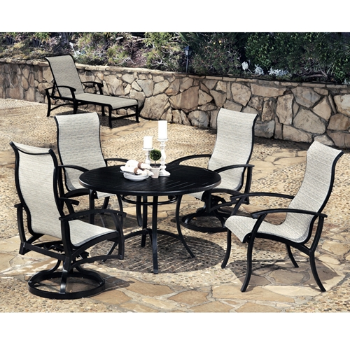 Mallin Georgetown Dining Set with High Back Sling Chairs for 4 - ML-GEORGETOWN-SET2