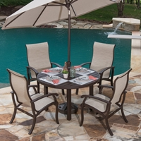 Mallin Georgetown Aluminum Sling Outdoor Dining Set - ML-GEORGETOWN-SET4