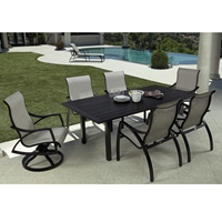 Mallin Heritage Sling Modern Patio Dining Set for 6 - ML-HERITAGE-SET2