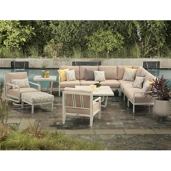 Mallin Madeira Aluminum Cushion Outdoor Sectional Set with Lounge Chairs - ML-MADEIRA-SET1