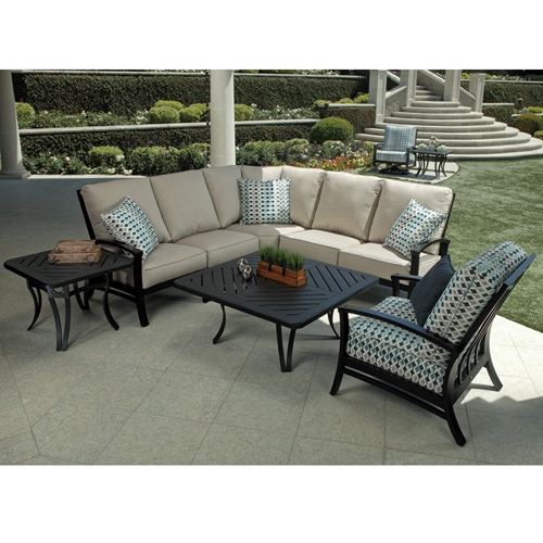 Mallin Oakland Aluminum Outdoor Sectional with Lounge Chair - ML-OAKLAND-SET1