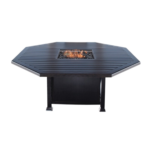 "Mallin Paso Robas 64"" Octagonal Dining Height Fire Table - F Slat Table - LF153L-F071F"
