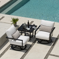 Mallin Quincy Swivel Rocker Lounge Chair Outdoor Set with Side Table - ML-QUINCY-SET2