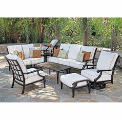 Mallin Turin Cushion Traditional Cast Aluminum Outdoor Furniture Set - ML-TURIN-SET1