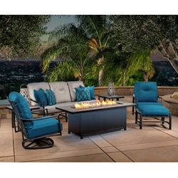 OW Lee Avana Cushion Sofa and Lounge Chair Fire Pit Set - OW-AVANA-SET2