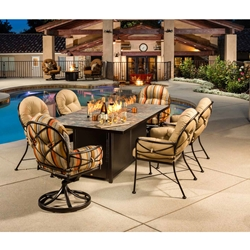 OW Lee Cambria Wrought Iron Dining Set with Fire Pit Table - OW-CAMBRIA-SET5
