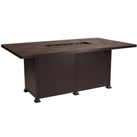 "OW Lee Santorini 42"" x 72"" Dining Height Fire Pit Table - 5110-4272D"