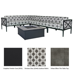 Warehouse Sale OW Lee Creighton Sectional with Fire Table in Graphite with Fortune Char Cushions