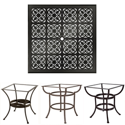 OW Lee 44 inch Square Hacienda Cast Top Dining Table - A44SQBU-DT03